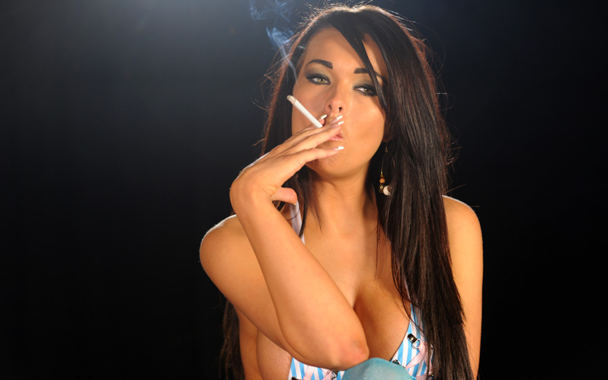 Charley smoking all white 120s in skimpy lingerie