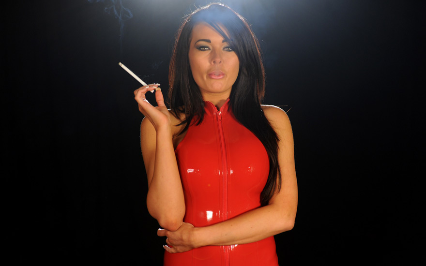 Charley Atwell smoking 120s in latex