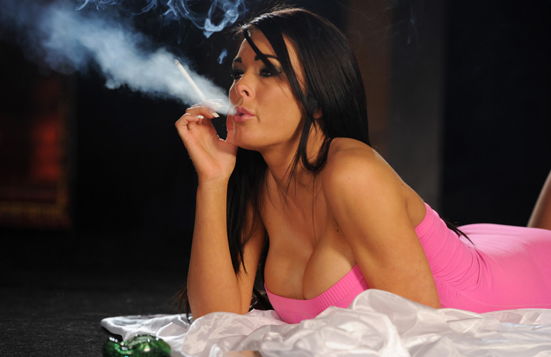 Charley looks stunning as she smokes VS 120s