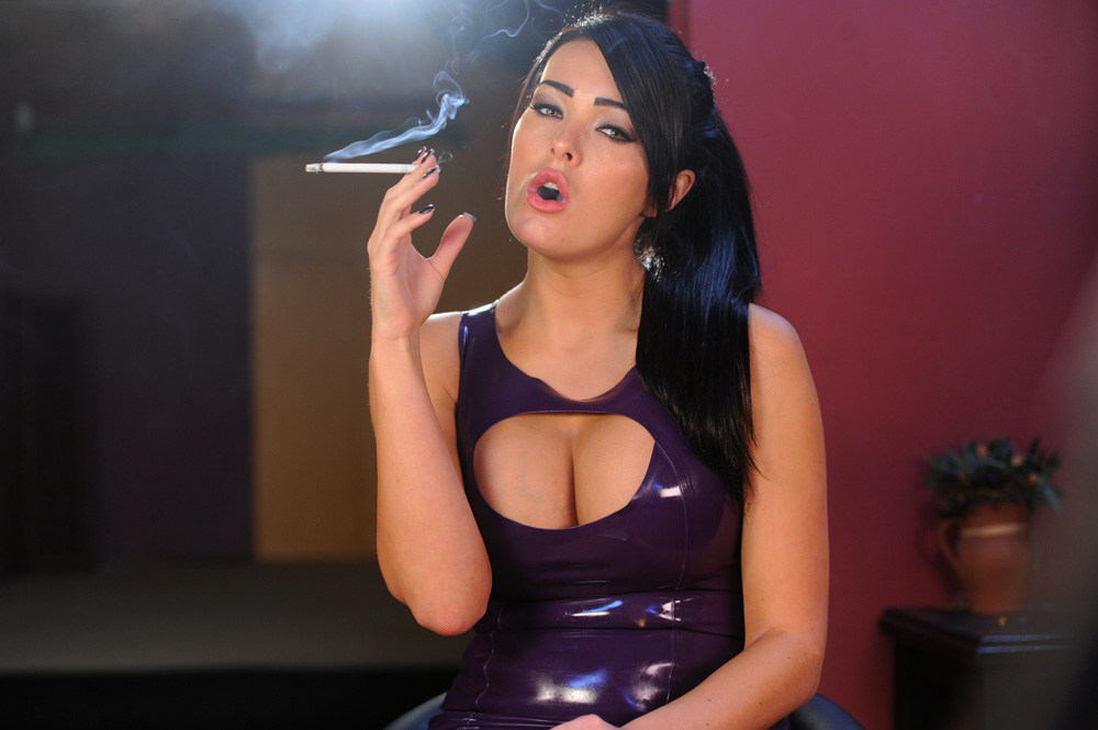 Charley chain smoking 120s in latex dress